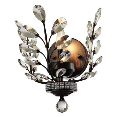 Aspen Collection 12 in. Dark Bronze Crystal Wall Sconce