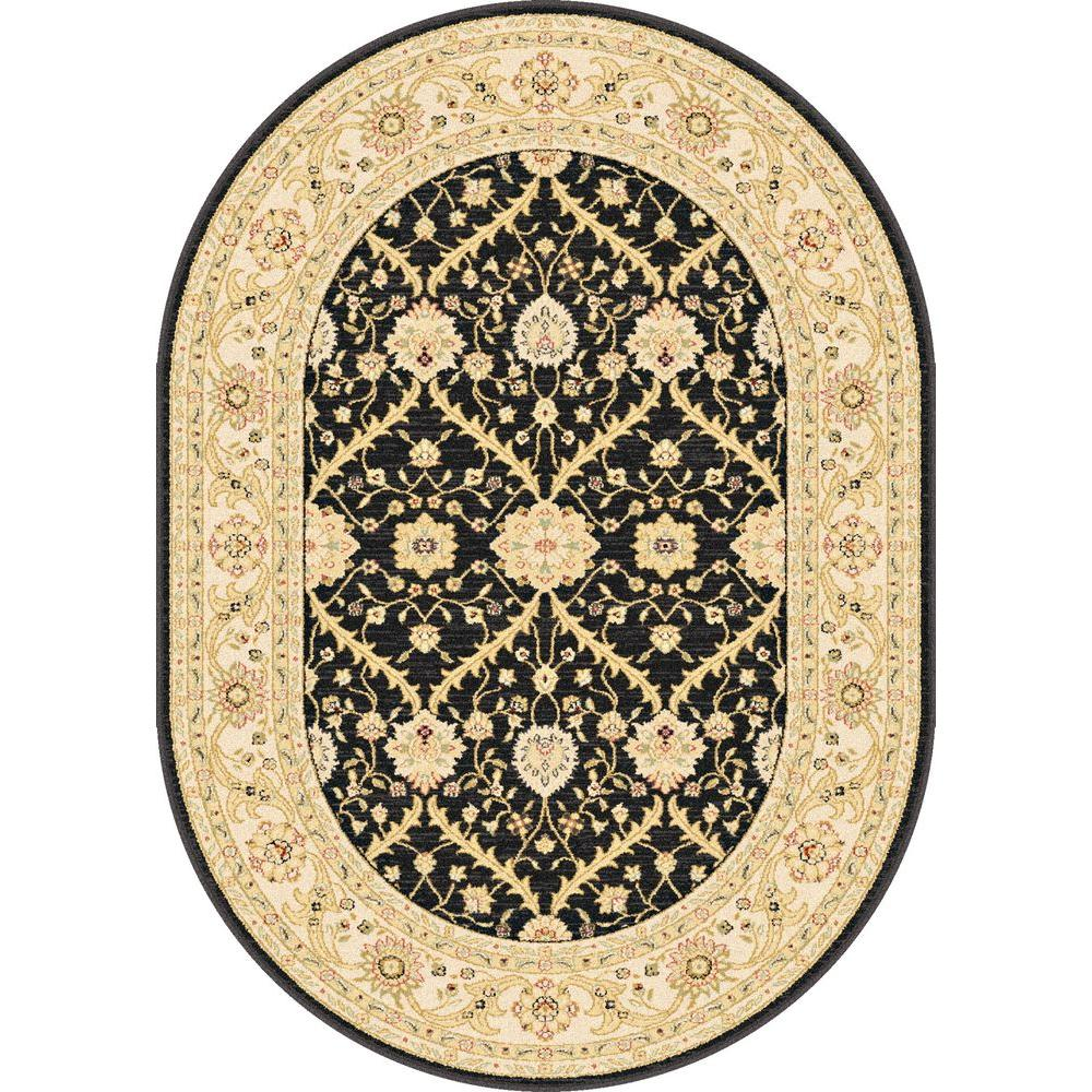 Tayse Rugs Antique Treasure Black 5 ft. 3 in. x 7 ft. 3 in. Indoor Oval Area Rug