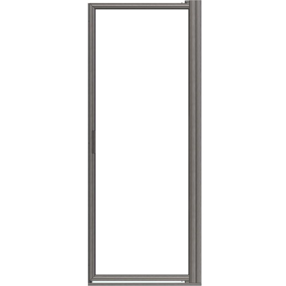 Basco Deluxe 34-7/8 in. x 63-1/2 in. Framed Pivot Shower Door in Brushed Nickel