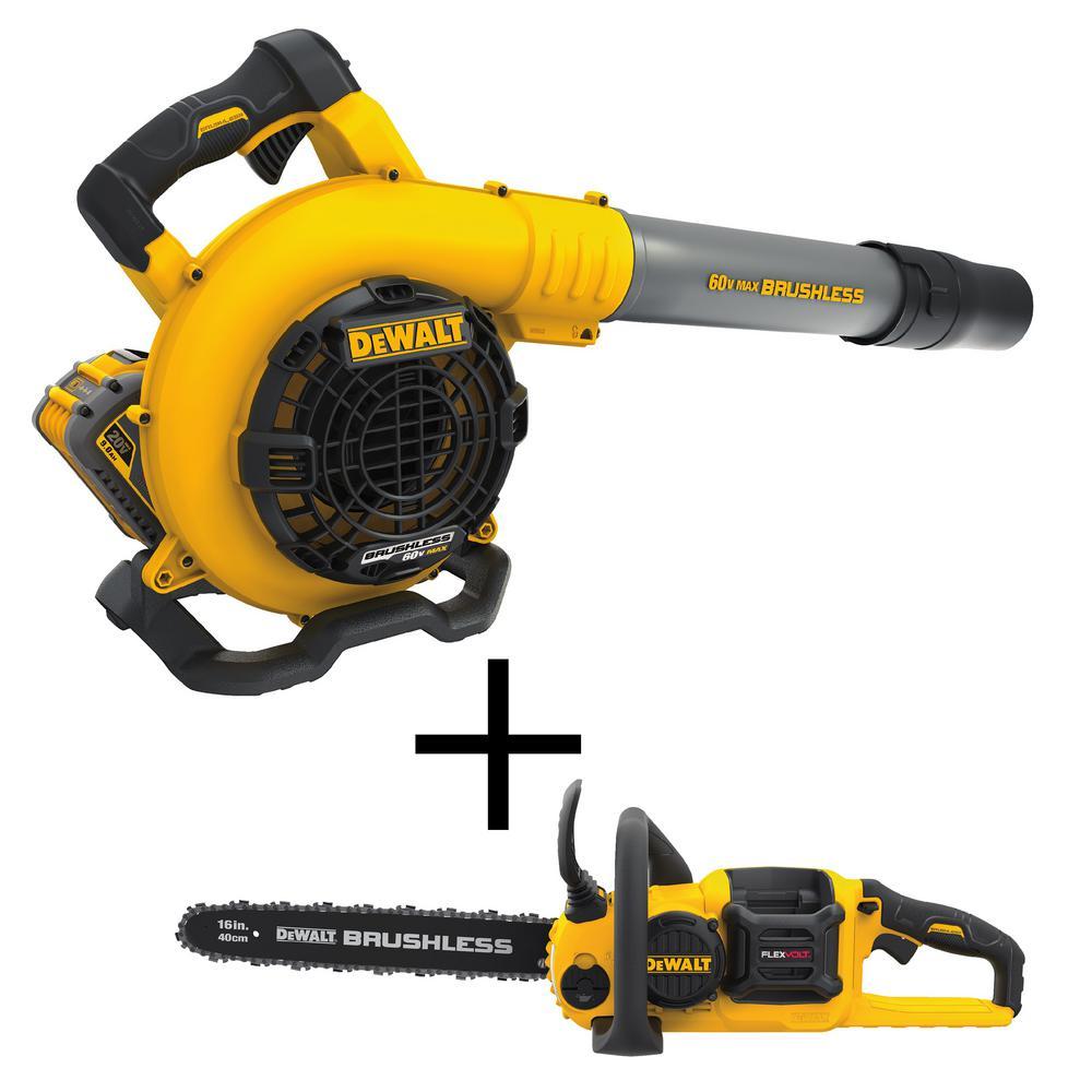 Dewalt Flexvolt 60V Max Lithium-Ion Brushless Handheld Blower + Dewalt FLEXVOLT Cordless Chainsaw