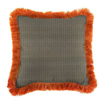 Sunbrella Surge Charcoal Square Outdoor Throw Pillow with Tuscan Fringe