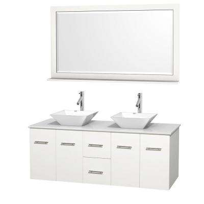 Centra 60 in. Double Vanity in White with Solid-Surface Vanity Top in White, Porcelain Sinks and 58 in. Mirror
