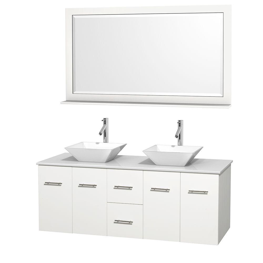 Wyndham Collection Centra 60 in. Double Vanity in White with Solid-Surface Vanity Top in White, Porcelain Sinks and 58 in. Mirror