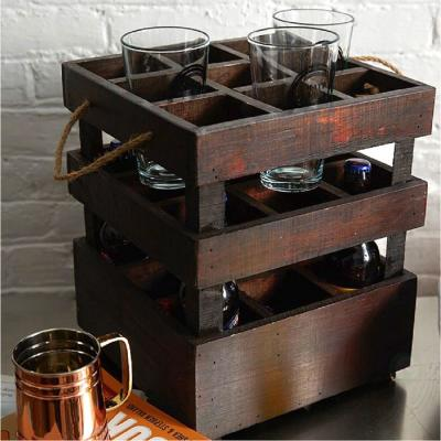11 in. x 11 in. x 13 in. Wooden Antique Style 9 Bottle Stackable Beer Crates, Rustic Brown
