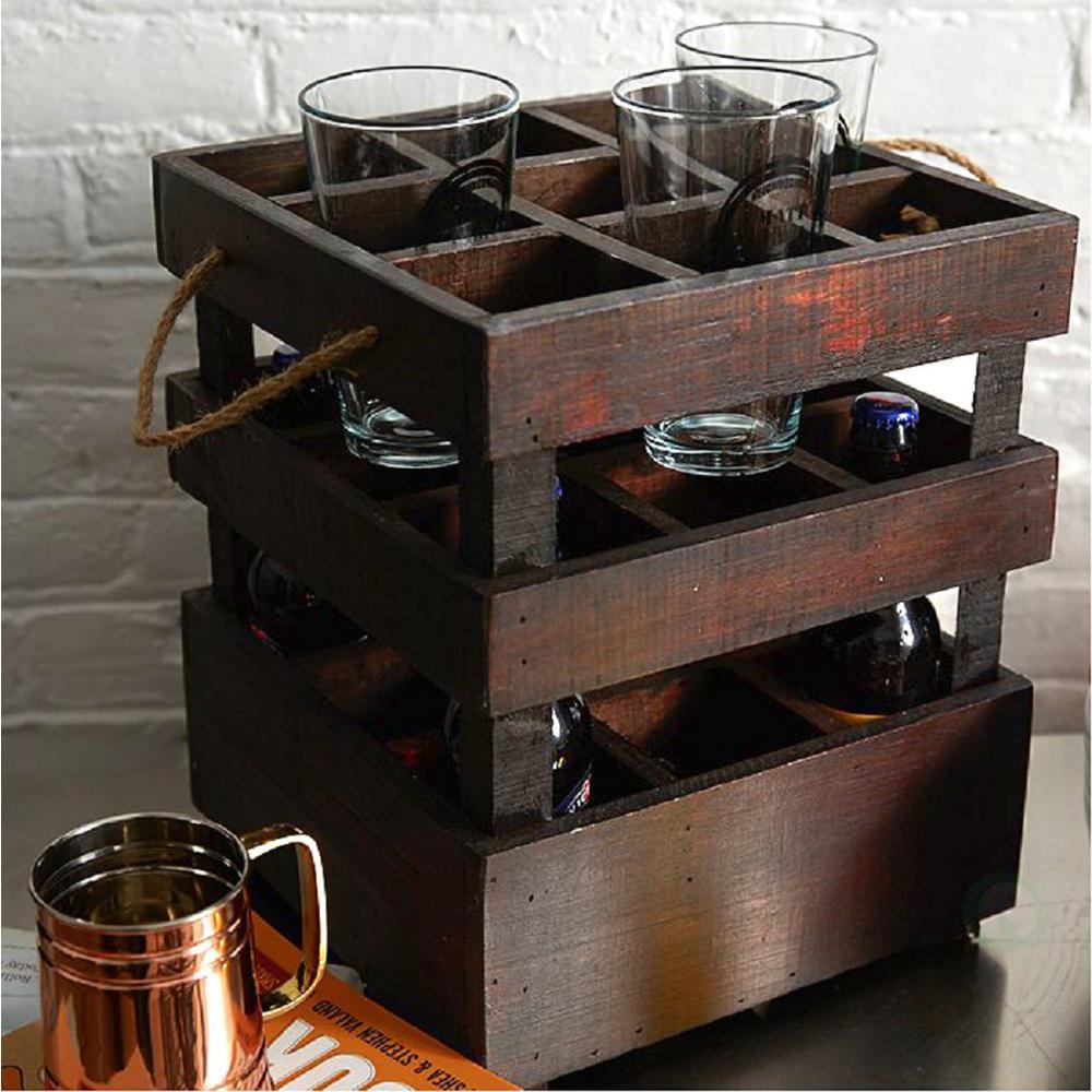 11 in. x 11 in. x 13 in. Wooden Antique Style 9 Bottle Stackable Beer Crates, Rustic Brown