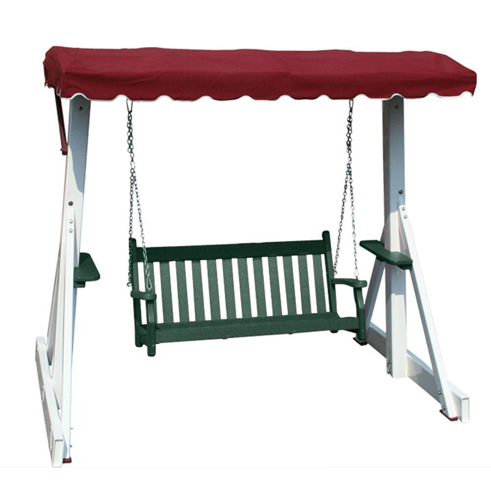 Vifah Roch Recycled Plastic Patio Swing with Canopy Top in Green-DISCONTINUED