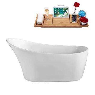 63 in. Acrylic Flatbottom Non-Whirlpool Bathtub in Glossy White