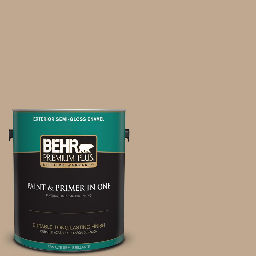 BEHR Premium Plus 1 gal. #MQ2-25 British Khaki Semi-Gloss Enamel Exterior Paint and Primer in One