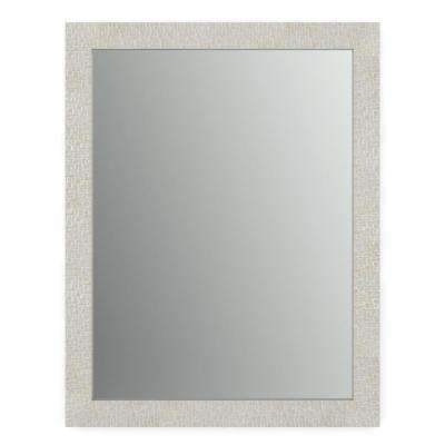 23 in. x 33 in. (S2) Rectangular Standard Glass Bathroom Mirror with Stone Mosaic Frame and Float Mount Hardware