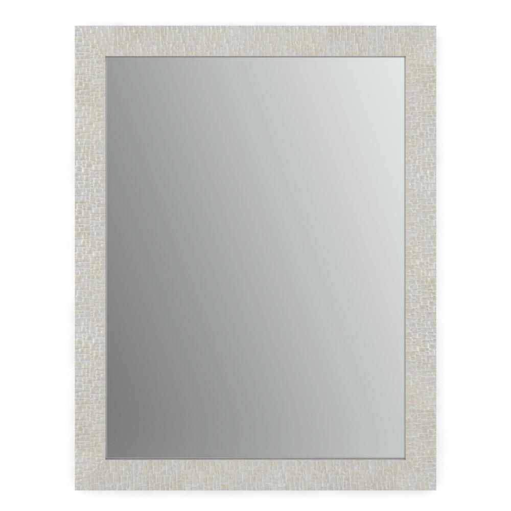 Delta 23 In X 33 In S2 Rectangular Standard Glass Bathroom Mirror With Stone Mosaic Frame