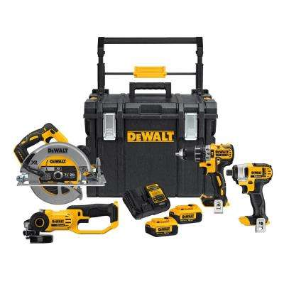 20-Volt MAX Lithium-Ion Cordless Hammerdrill/Impact Driver/Circular Saw/Grinder Combo Kit (4-Tool) w/ ToughSystem Case