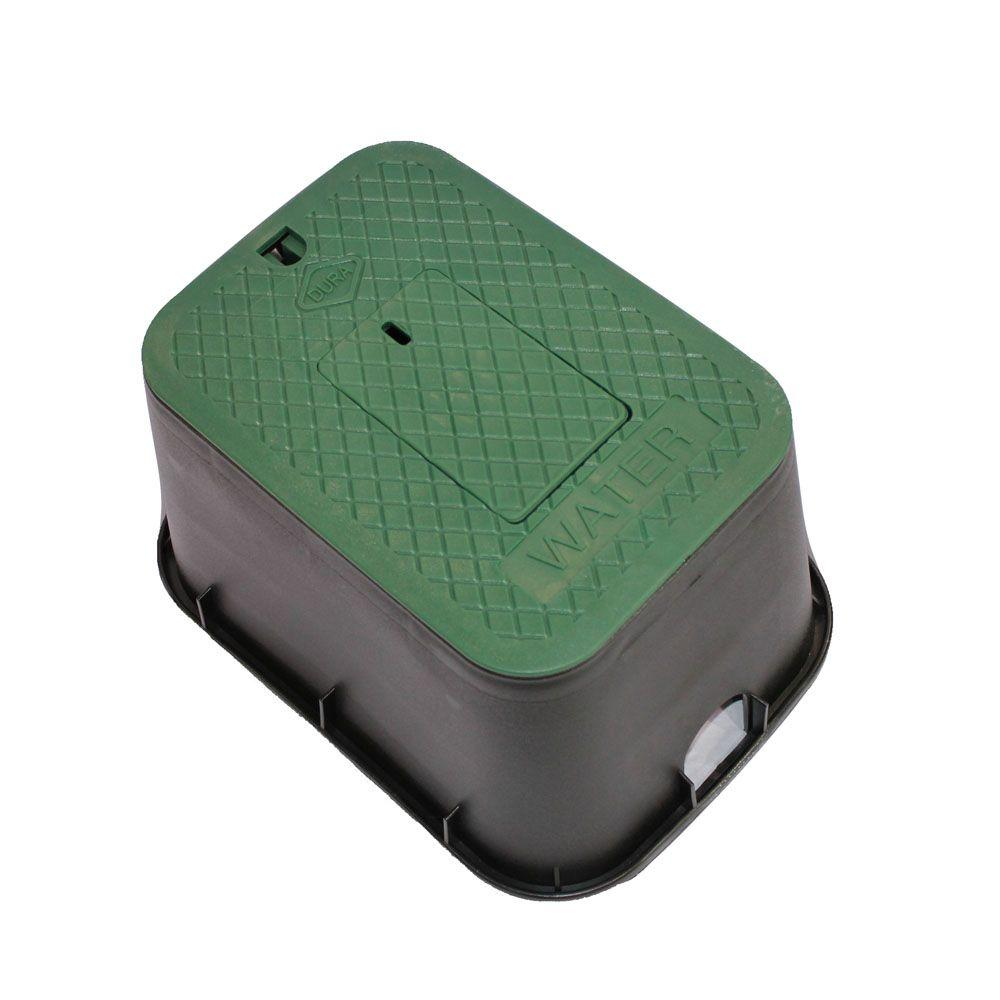 DURA DURA 12 in. x 17 in. x 12 in. Deep Meter Box in Black Body Green Lid