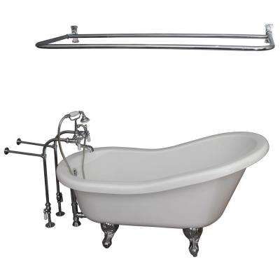 5.6 ft. Acrylic Ball and Claw Feet Slipper Tub in White with Polished Chrome Accessories