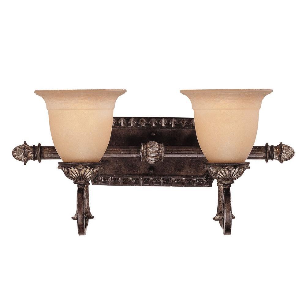2-Light Moroccan Bronze Bath Bar Light with Cream Textured Glass