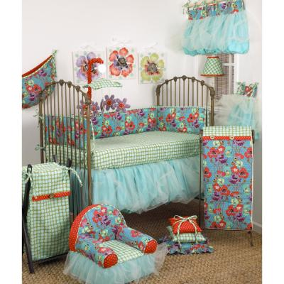 Lagoon 8 Piece Turquoise Floral Crib Bedding Set