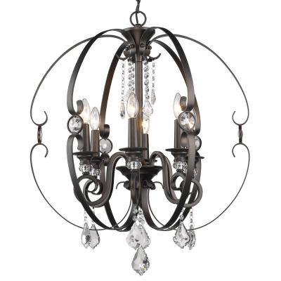 Ella EB 6-Light Brushed Etruscan Bronze Chandelier
