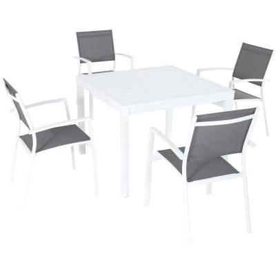 Del Mar 5-Piece Aluminum Outdoor Dining Set with 4-Sling Arm Chairs and a 38 in. Square Dining Table