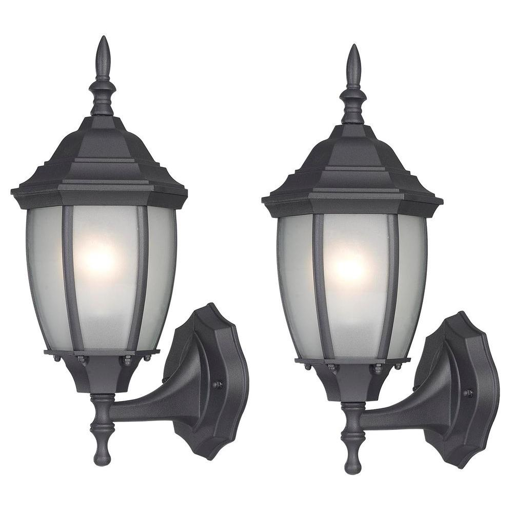 CANARM Hayden 1-Light Black Outdoor Wall Lantern with Frosted Glass (2-Pack)