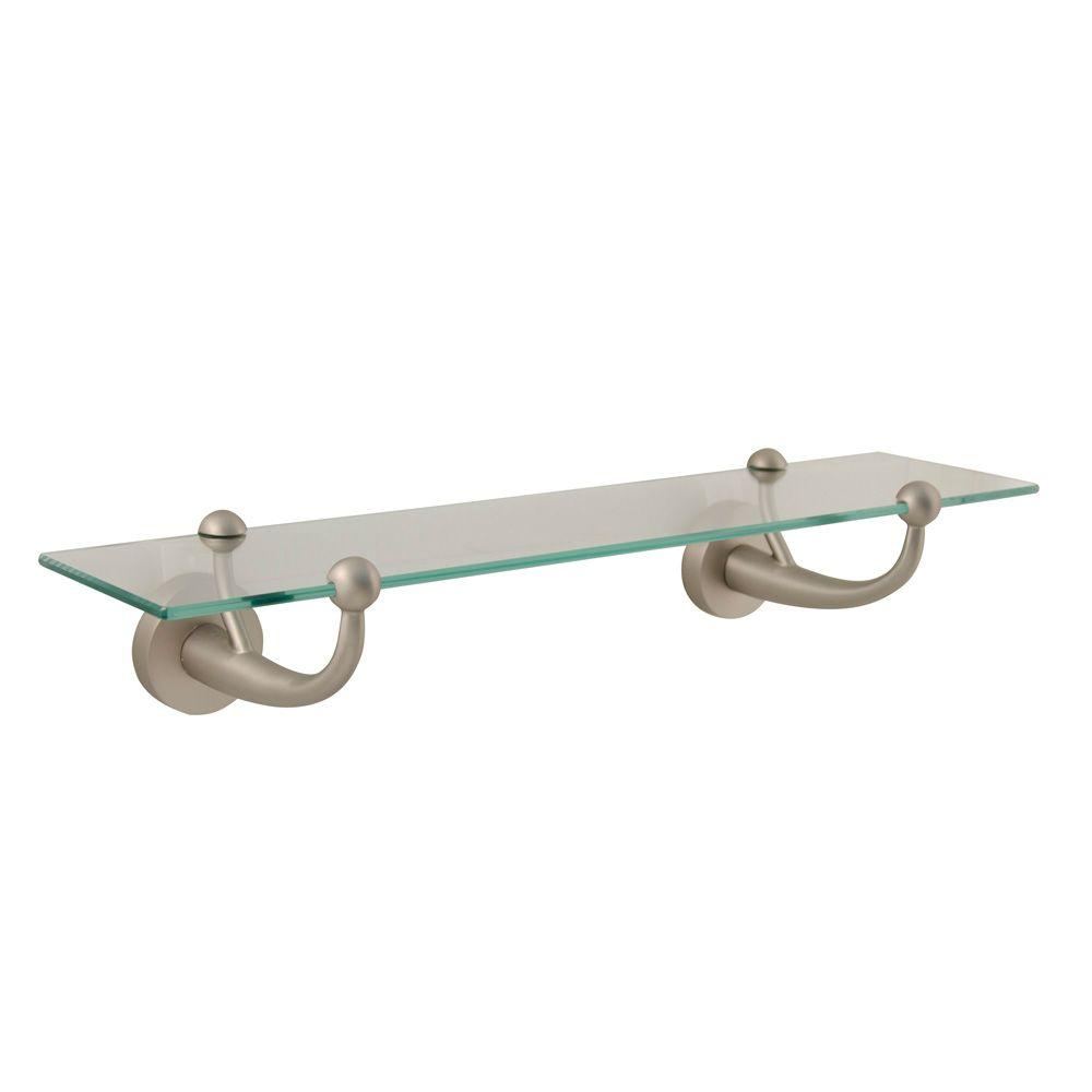 Moorefield Beacon Wall Mount Glass Shelf in Brushed Nickel