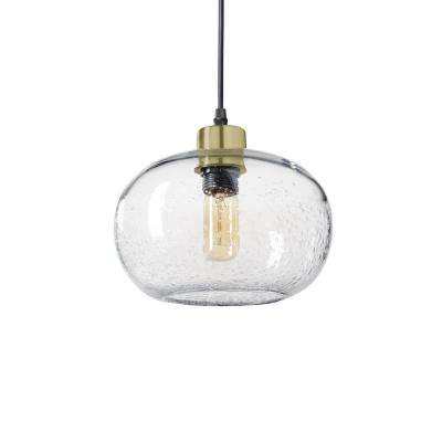 9 in. W x 6 in. H 1-Light Brass Effervescent Hand Blown Glass Pendant Light with Clear Glass Shade