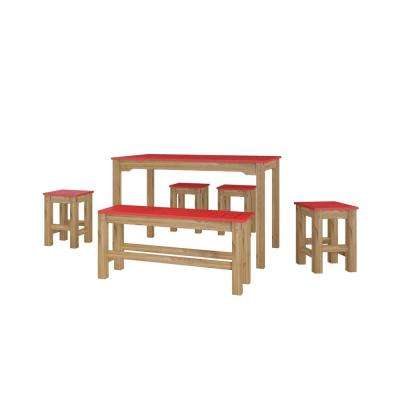 Stillwell 47.25 in. 6-Piece Red and Natural Wood Rectangle Dining Set