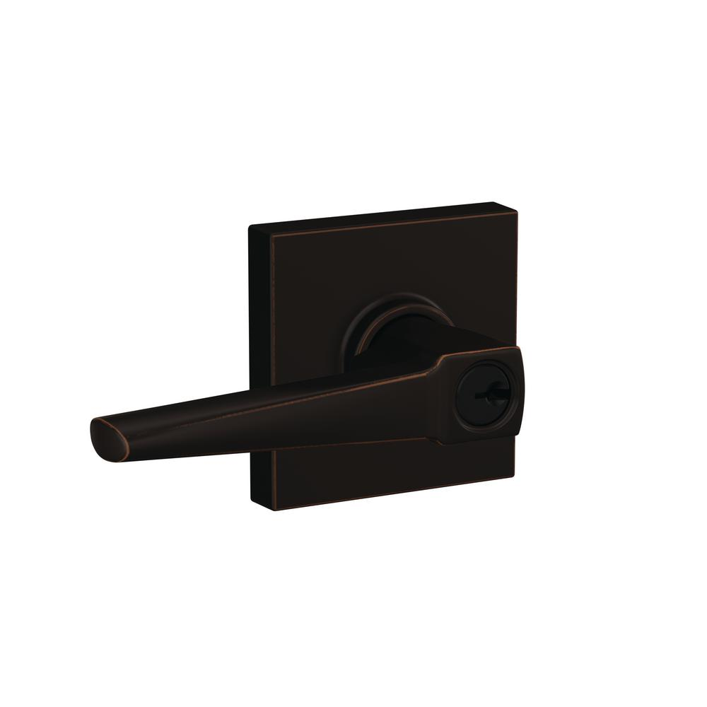 Schlage Custom Eller Aged Bronze Collins Trim Keyed Door