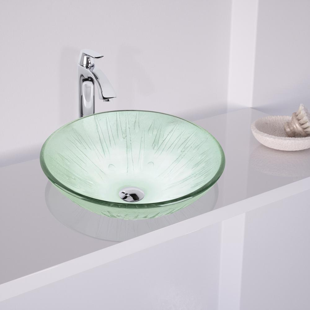 VIGO Icicles Vessel Sink in Clear with Faucet Set in Chrome