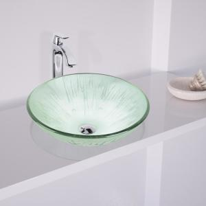 VIGO Icicles Vessel Sink in Clear with Faucet Set in Chrome by VIGO