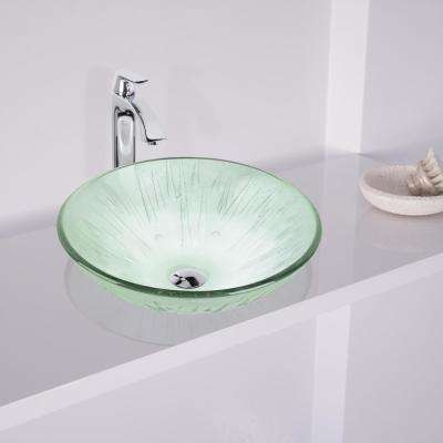 Icicles Vessel Sink in Clear with Faucet Set in Chrome