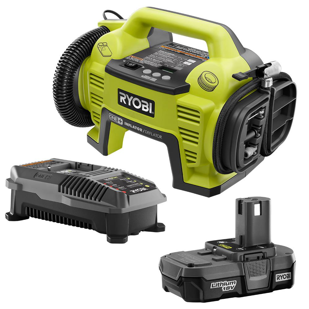 RYOBI 18-Volt ONE+ Lithium-Ion Cordless Dual Function Inflator/Deflator with (1) 1.3 Ah Battery and (1) 18-Volt Charger