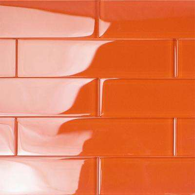 Contempo Orange 2 in. x 8 in. x 8mm Polished Glass Floor and Wall Tile (1 sq. ft.)