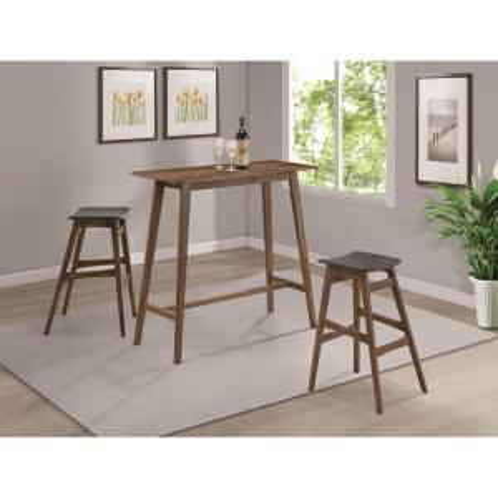 Rec Room Natural Walnut Rectangular Bar Table by