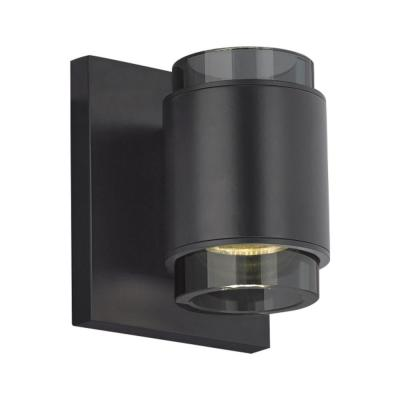 Voto 1 in. Black LED Sconce with Clear/Smoke Glass Shades