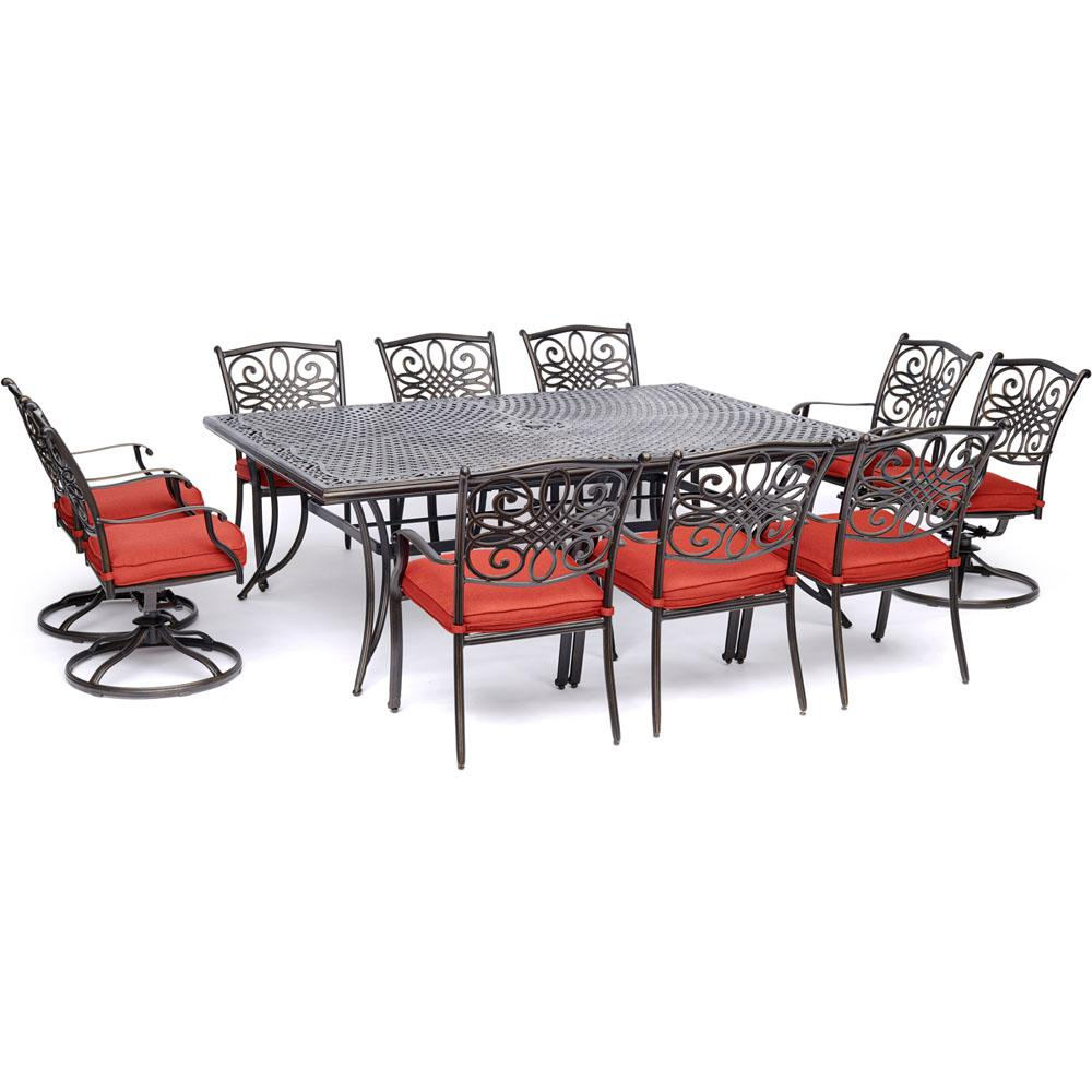 Hanover Traditions 11-Piece Aluminum Outdoor Dining Set with 4 Swivel Rockers and Red Cushions