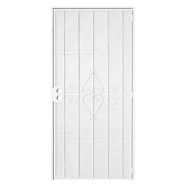 30 in. x 80 in. Su Casa White Surface Mount Outswing Steel Security Door with Expanded Metal Screen