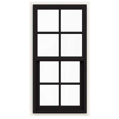 24 in. x 48 in. V-4500 Series Black FiniShield Single-Hung Vinyl Window with 4-Lite Colonial Grids/Grilles