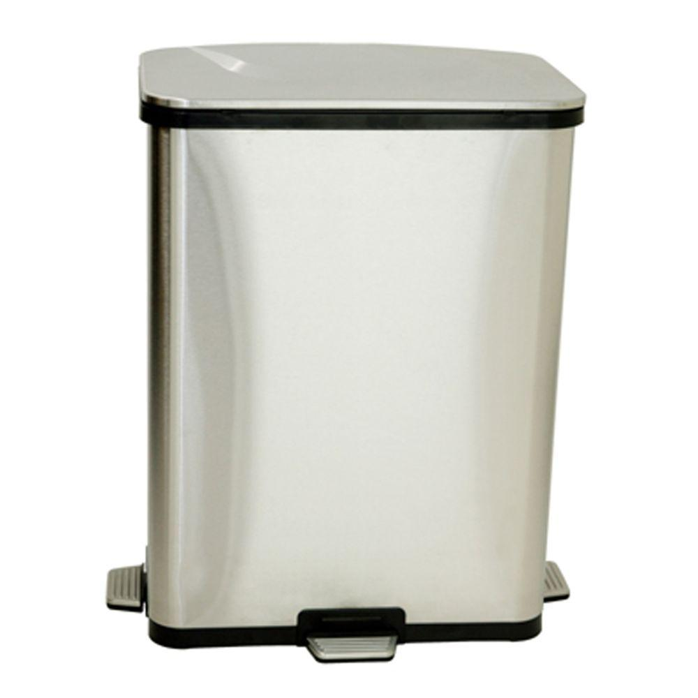 ITouchless 13 Gal. Fingerprint Proof Stainless Steel Step Sensor Trash Can