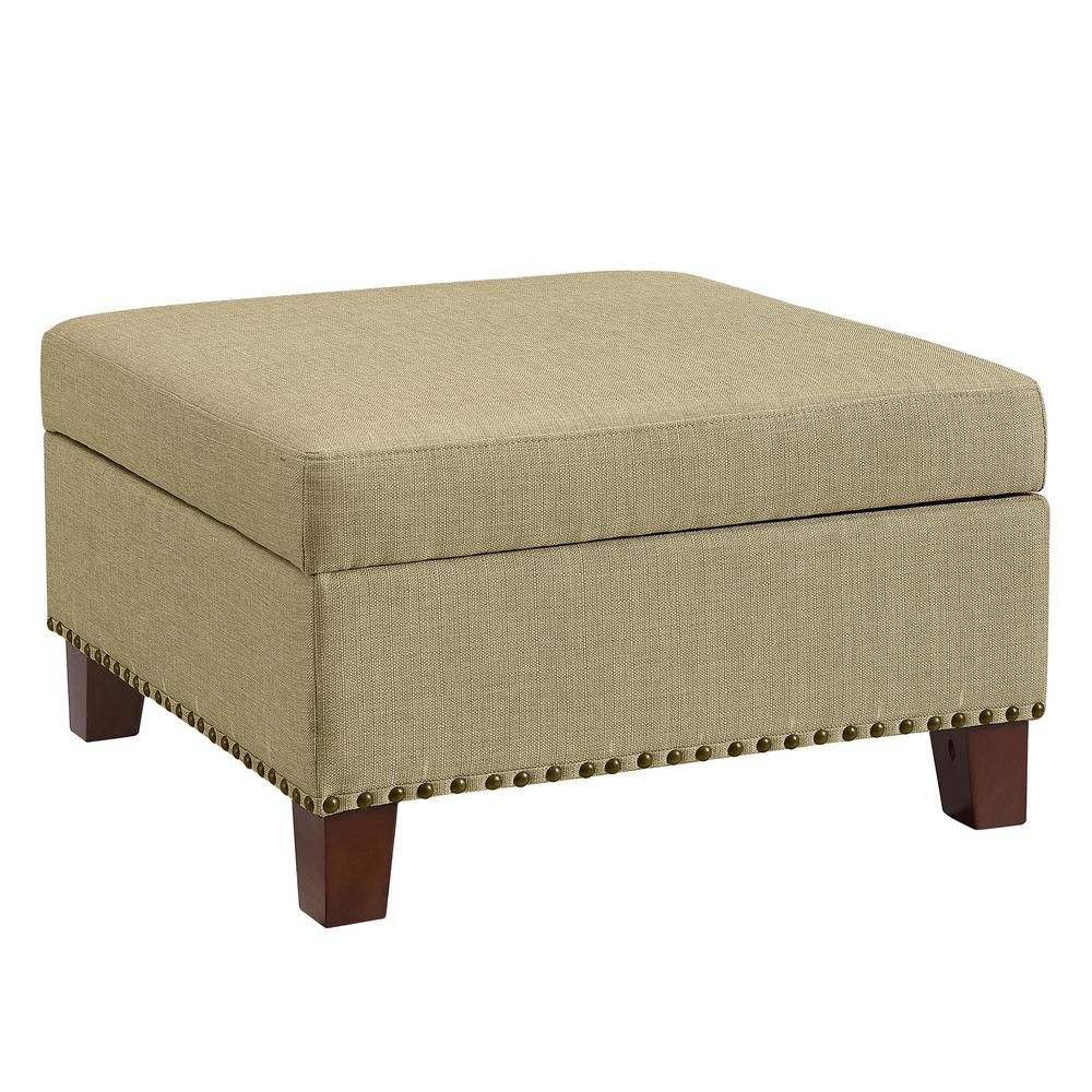 Kimball Beige Storage Ottoman with Nailheads
