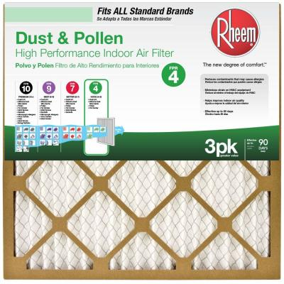 16  x 25  Basic Household Pleated FPR 4 Air Filter (3-Pack, Case of 4)