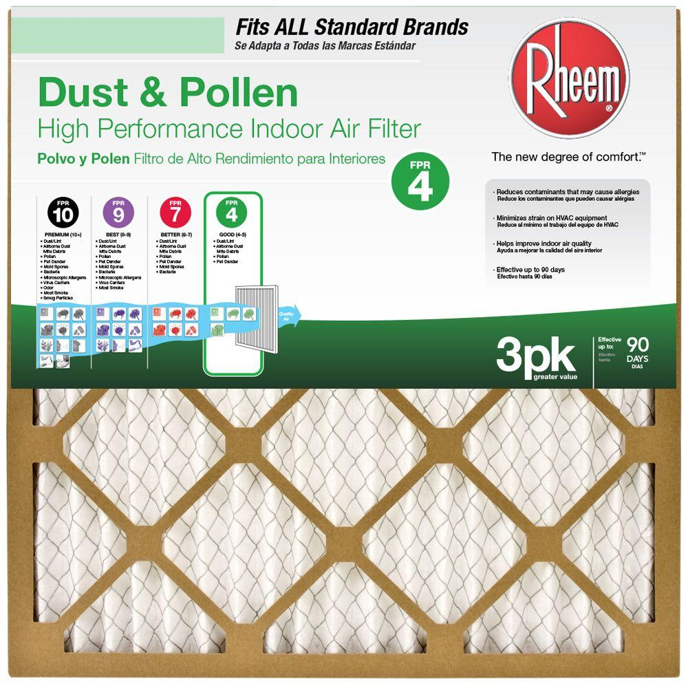 Rheem 20 in. x 20 in. Basic Household Pleated FPR 4 Air Filter (3-Pack, Case of 4)