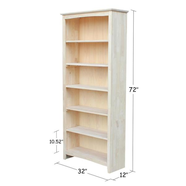 International Concepts Brooklyn 72 In H Ready To Finish Solid Wood Bookcase Sh 3227a The Home Depot