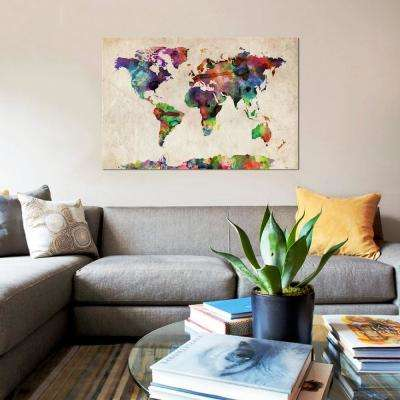 """18 in. x 12 in. """"World Map Urba Watercolor II"""" by Michael Tompsett Printed Canvas Wall Art"""