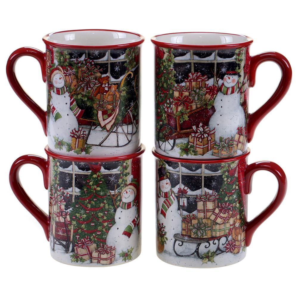 Certified International Snowman's Sleigh 16 oz. Mug (Set of 4) 31327SET/4