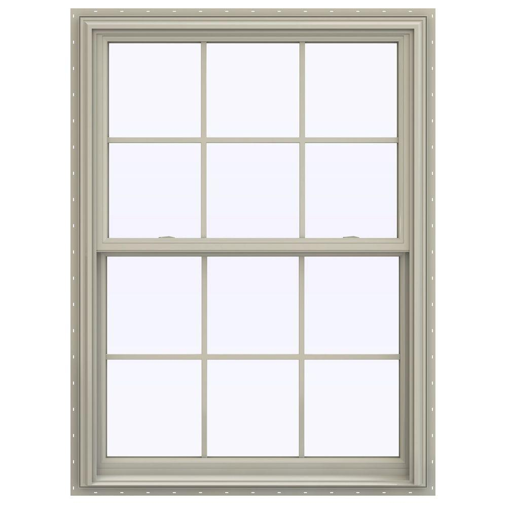 JELD-WEN 39.5 in. x 47.5 in. V-2500 Series Double Hung Vinyl Window with Grids - Tan