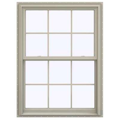 39.5 in. x 59.5 in. V-2500 Series Desert Sand Vinyl Double Hung Window with Colonial Grids/Grilles