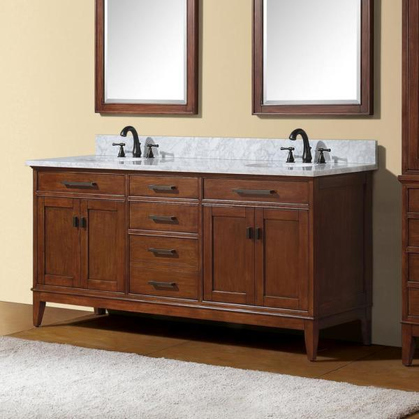 Avanity Madison 72 In W X 21 In D X 34 In H Vanity Cabinet Only In Tobacco Madison V72 To The Home Depot