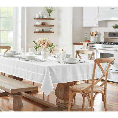 60 in. W x 102 in. L White Elrene Elegance Plaid Damask Fabric Tablecloth