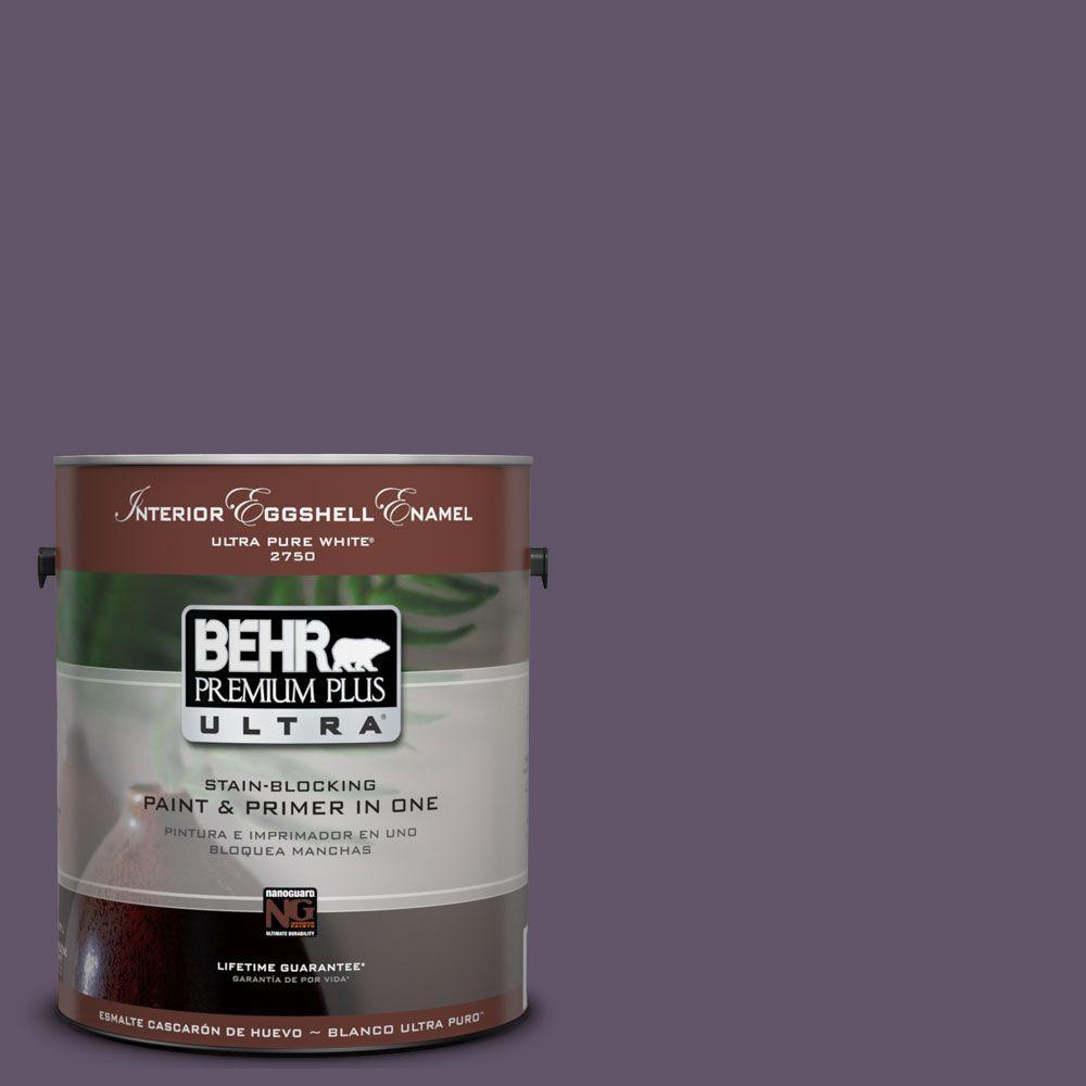 BEHR Premium Plus Ultra 1-Gal. #UL250-21 Darkest Grape Interior Eggshell Enamel Paint