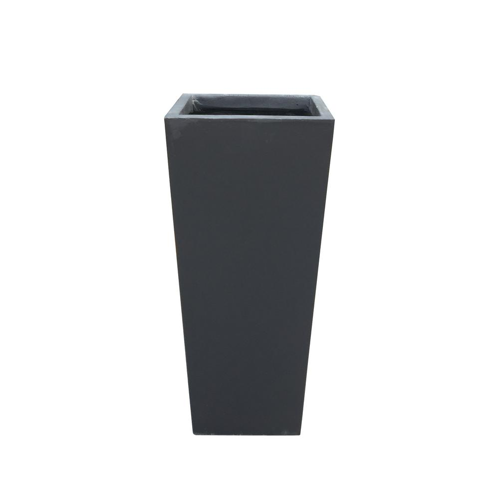 KANTE 24.4 in. Tall Burnished Black Lightweight Concrete Rectangle Modern Tapered Outdoor Planter