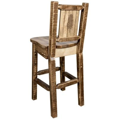 Homestead Collection 30 in. Early American Laser Engraved Pine Tree Motif Bar Stool with Back
